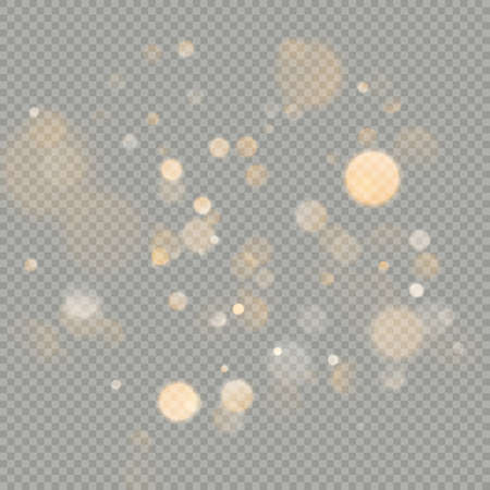 Effect of bokeh circles isolated on transparent background. Christmas glowing warm orange glitter element that can be used. Foto de archivo - 143698090