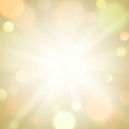 Gold burst light sparkle bokeh blur background. Circle light on beige background.