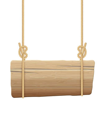 Wooden singboard hanging on ropes. EPS 10 vector