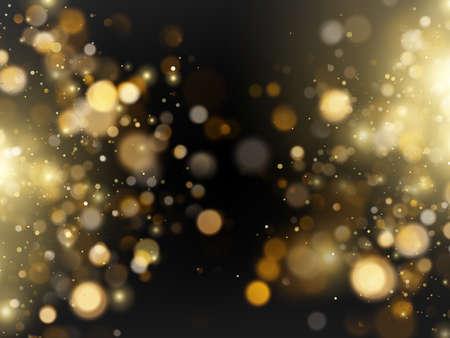 Abstract defocused bright golden luxury glitter bokeh lights background.