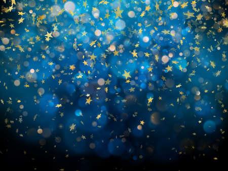 Sparkling golden magic glowing dust. Golden Christmas and New Year glittering stars on dark blue bokeh background. Foto de archivo - 143698616
