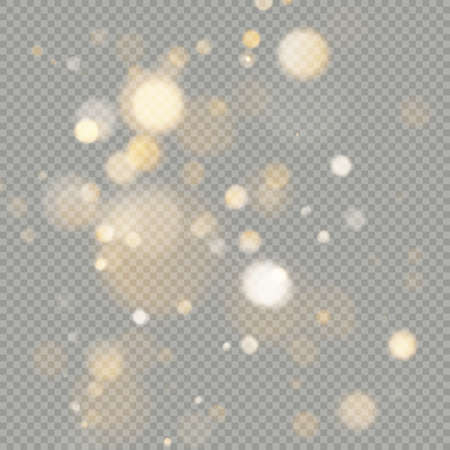Effect of bokeh circles isolated on transparent background. Christmas glowing warm orange glitter element that can be used. Foto de archivo - 143699402