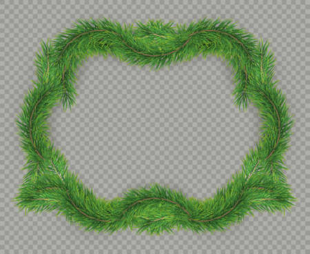 Christmas decorative fir tree frame with copy space and shadow. Foto de archivo - 143699400