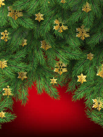 Christmas tree branches on red background. 向量圖像