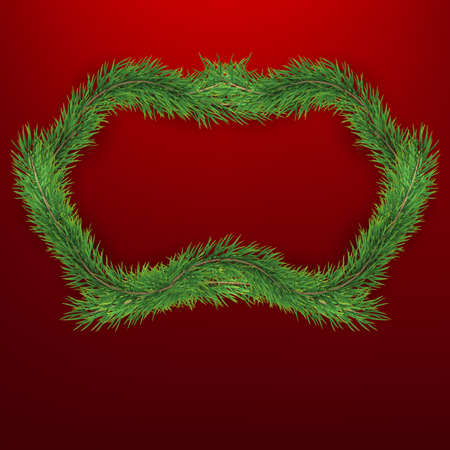 Winter holiday background with firtree frame. Border with Christmas tree branches. Great for New Year posters, cards, headers, banners. EPS 10