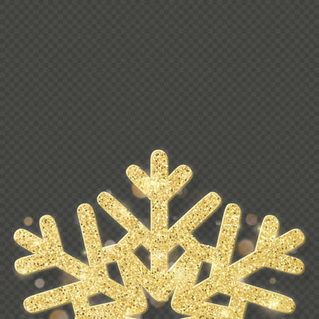 Christmas shining gold snowflake overlay object. EPS 10 vector file