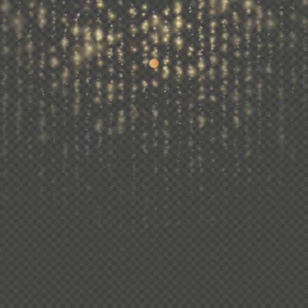 Gold particles lines rain. Sparkling of shimmering light blurs. Overlay transparent glitter threads of curtain backdrop. Christmas and New Year effect. Sparkling of shimmering light blurs. EPS 10 vector file