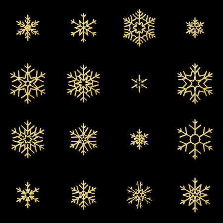 Set of sixteen shine relief golden snowflakes isolated on black background. New Year and Christmas card glittering decoration object. EPS 10 vector file 向量圖像
