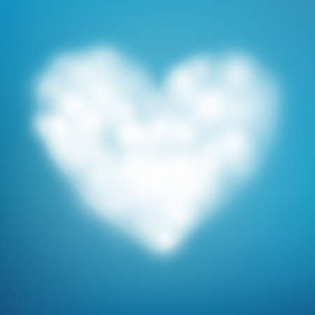 Heart shaped cloud in the blue sky. EPS 10 vector file  イラスト・ベクター素材