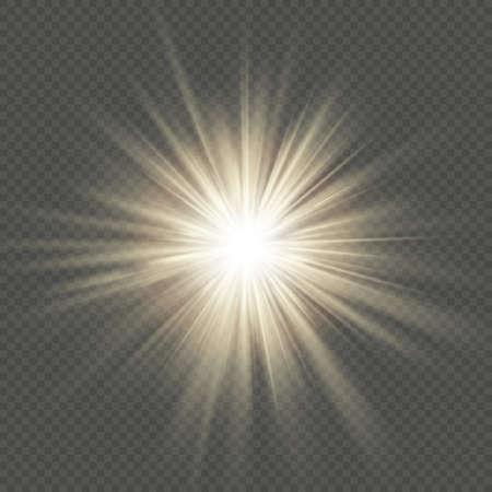 Warm glow star burst flare explosion transparent light effect. EPS 10 vector file