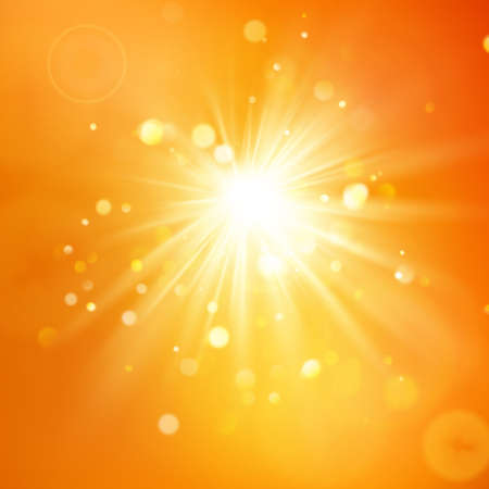 Enjoy the sunshine. Warm day light. Summer background with a hot sun burst with lens flare. EPS 10 vector file