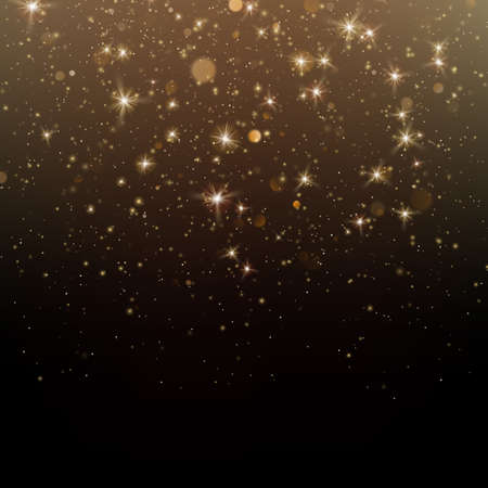 Gold glittering star dust sparkling particles on dark background. EPS 10 vector file