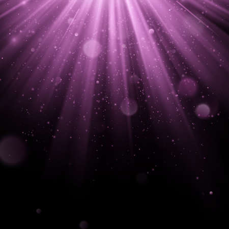 Abstract purple overlay effect. Shimmering object with rays background. Glow light falling down and light flare. Spotlights scene. EPS 10 vector file 向量圖像