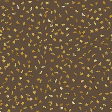 Seamless gold star confetti rain festive pattern effect. Golden volume stars falling down isolated on white background. EPS 10 vector file