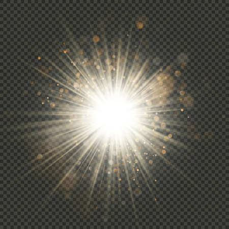 Transparent glow light burst effect with sparkles. Shine glitter, bright flare. EPS 10 vector file 向量圖像