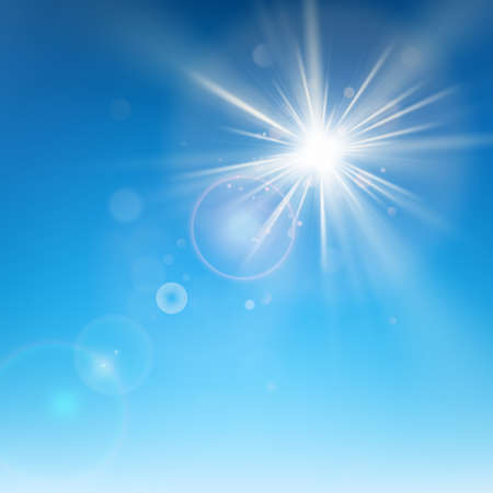 Clear blue sky with sun shine. Lens flare effect. EPS 10 vector file Векторная Иллюстрация
