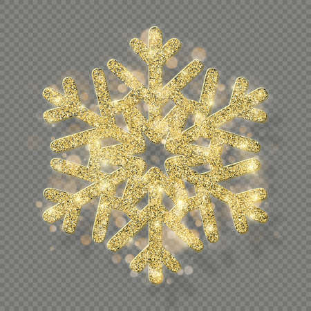 Rich Christmas texture decoration with glitter golden bokeh. Shine snowflake isolated on transparent background. EPS 10 vector file 向量圖像