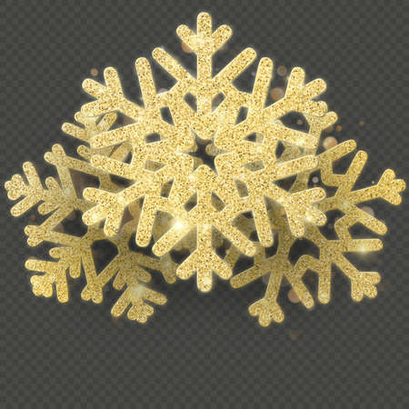 Christmas card template with shining gold snowflakes overlay object. EPS 10 vector file