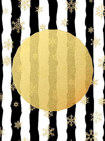 Chic and luxury Christmas postcard with gold glitter foil greeting card. Black stripes, snowflakes, golden glittering circle element. EPS 10 vector file