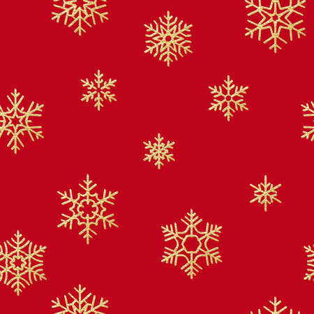 Seamless pattern with golden snowflakes on red background for Christmas or New Year holidays.