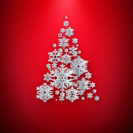 Merry Christmas Greetings card. White Paper cut snow flake tree. Happy New Year. Winter snowflakes background with copyspace. EPS 10 Foto de archivo - 143698127