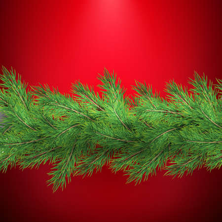 Christmas holiday border with realistic fir tree branches decorations with shadow, on red. EPS 10 向量圖像