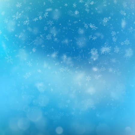 Blue Christmas background with snowflakes and bokeh lights. EPS 10 vector file included Foto de archivo - 143698438