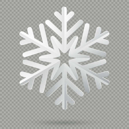 White realistic folded paper Christmas snowflake with shadow isolated on transparent background. EPS 10 vector file Foto de archivo - 143699090