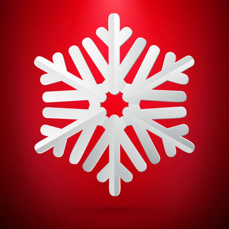 Red background with paper snowflake. EPS 10 vector file Foto de archivo - 143699127