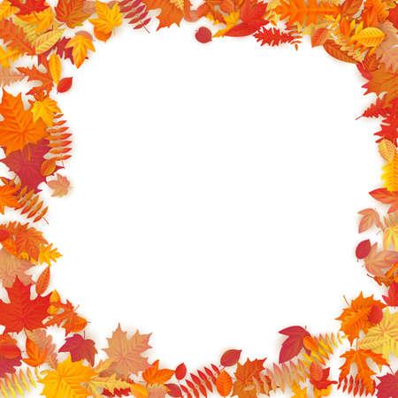 Rahmen mit roten, orangefarbenen, braunen und gelben fallenden Herbstblättern. EPS-10-Vektordatei