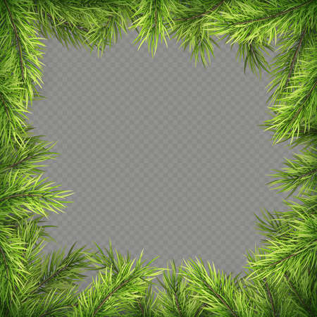 Christmas frame with pine branches and shadow. EPS 10 vector file Foto de archivo - 143701110