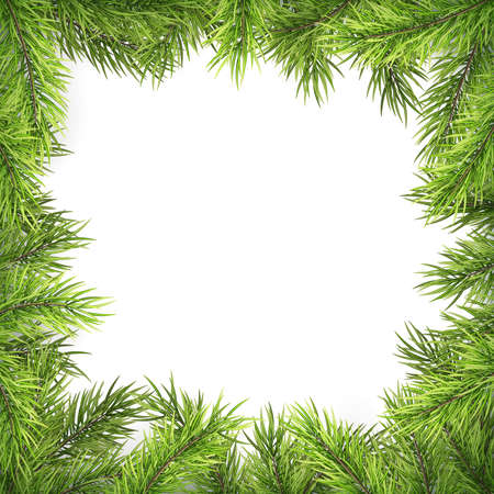Christmas frame with pine branches and shadow isolated on white. EPS 10 Foto de archivo - 143701501