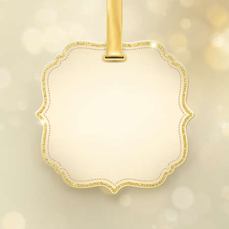 Christmas holiday glowing abstract glitter defocused blurred bokeh gold background with label and space for text. EPS 10 Foto de archivo - 143701491