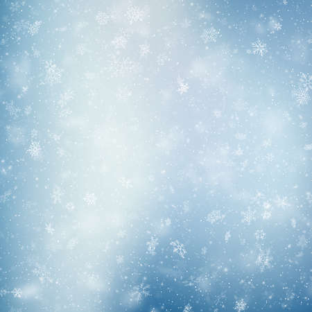 Decorative winter blue card with white snowflakes. EPS 10 vector file Foto de archivo - 143701001