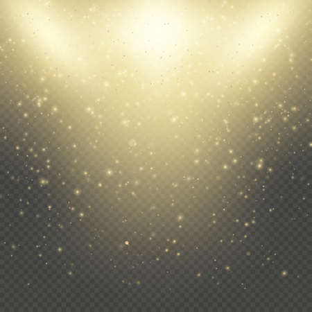 Christmas or New Year glowing sparkles rain. Abstract gold glitter space nebula shine effect. Golden dust overlay layer. Twinkling confetti, shimmering dot lights. EPS 10 vector file Foto de archivo - 143700328