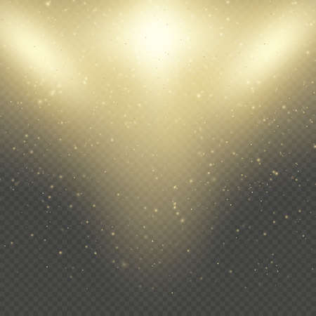 Christmas or New Year glowing sparkles rain. Abstract gold glitter space nebula shine effect. Golden dust overlay layer. Twinkling confetti, shimmering dot lights. EPS 10 vector file Foto de archivo - 143700488