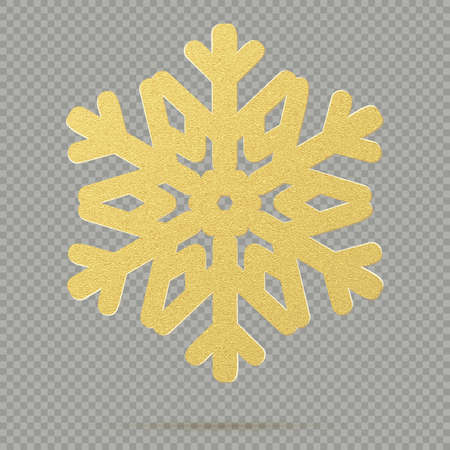 Christmas decoration of winter golden crystal ornament snowflake isolated on transparent background. EPS 10