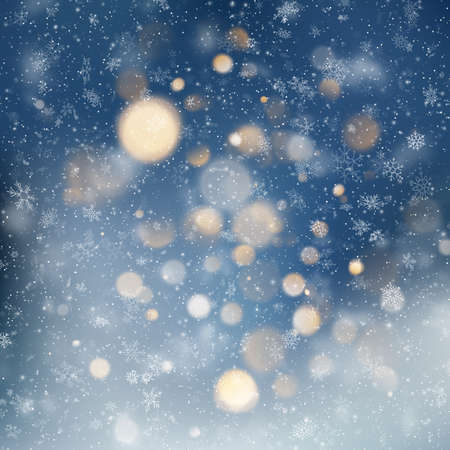 Decorative template Christmas background with snow and bokeh lights. Magic holiday abstract glitter background with blinking stars and falling snowflakes. EPS 10 Illusztráció