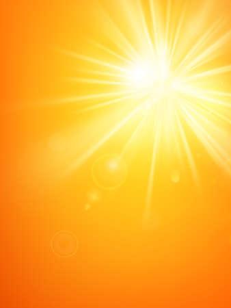 Modèle d'été Les rayons du soleil d'été chauds éclatent avec une lumière parasite.
