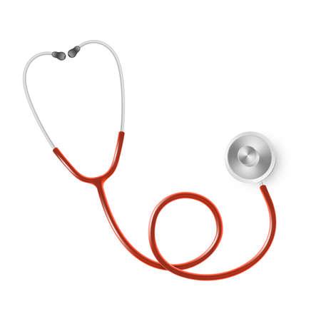 Concept médical et de soins de santé, stéthoscope du médecin isolé sur fond blanc Vecteurs