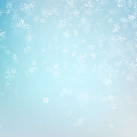 Blue blurred winter banner with snow flakes. EPS 10 vector file Foto de archivo - 143701242