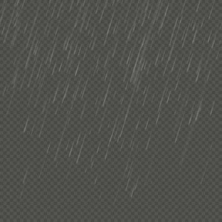 Rain isolated realistic anglewise effect. Transparent nature rainfall template. EPS 10 vector file