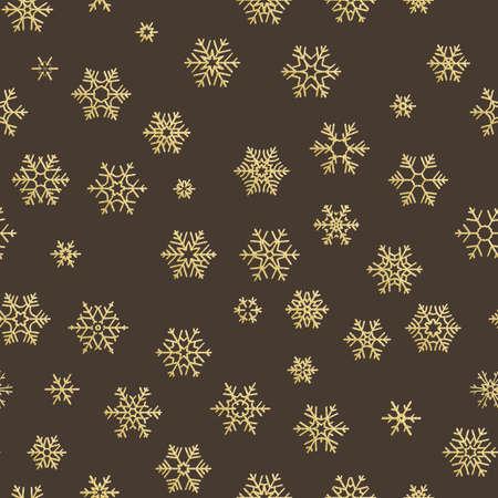 Effet de décoration de vacances joyeux Noël. Modèle sans couture de flocon de neige doré.