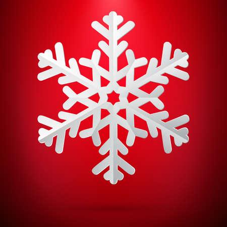 Red background with paper snowflake. Vektorgrafik