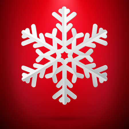 Red background with paper snowflake. Vektorové ilustrace