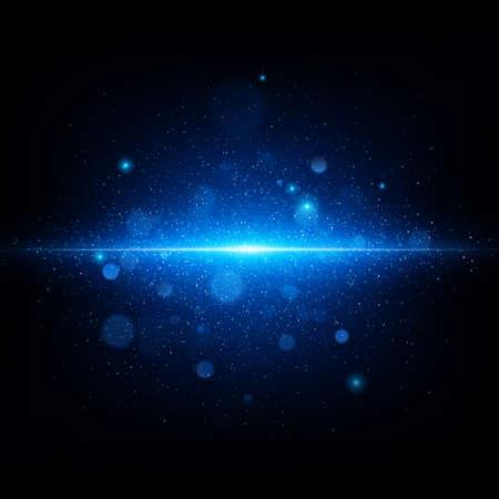 Flash abstrait bleu dans un espace bleu profond. Ciel étoilé réaliste avec une lueur bleue. Fichier vectoriel EPS 10 inclus Vecteurs