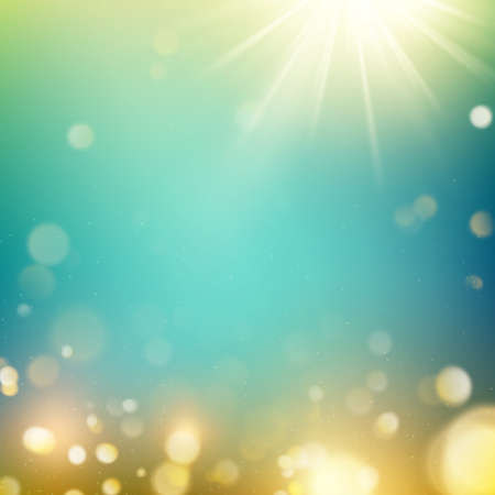 Realistic outdoors bokeh in green and yellow tones with sun rays. EPS 10 Vektorové ilustrace