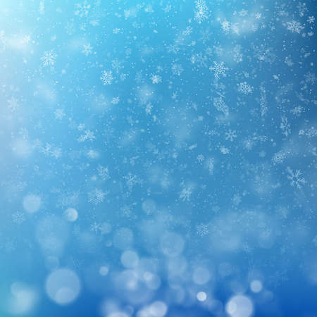 Lights on blue background with Christmas snowflakes bokeh effect. EPS 10 vector file included