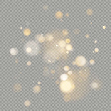 Effect of bokeh circles isolated on transparent background. Christmas glowing warm orange glitter element that can be used. EPS 10 vector file