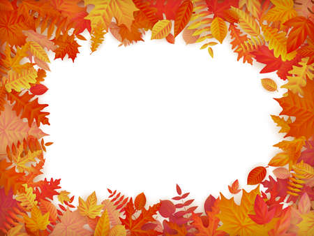 Autumn sale background layout in frame from leaves. Shopping sale or promo poster and frame leaflet or web banner. Vettoriali